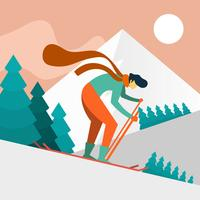 Flat Man Skier in Action Vector Illustration