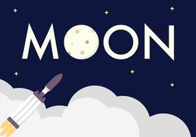 Cartel de la nave espacial de la luna
