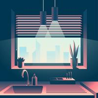 Kitchen Window Cityscape View  vector