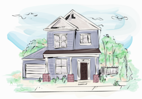Classical House Building Exterior Watercolor Vector Illustration