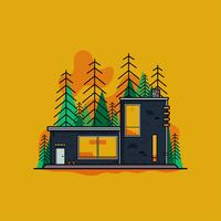 Modern Cabin In Woods Vector