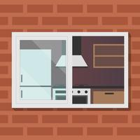 Outdoor View On Kitchen Room Vector Illustration
