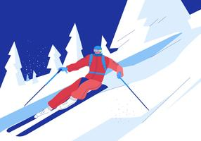 Skifahrer, der abwärts auf Snowy-Gebirgsvektor-flacher Illustration fährt