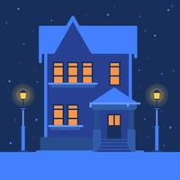 Casa en una ilustración de vector de paisaje de invierno nevado tranquilo