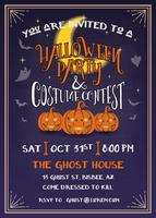 Halloween party invitation with scary pumpkins design vector
