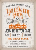 Halloween party and costume contest Invitation with scary pumpkins design.