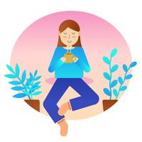 Women Feel Relax Vector