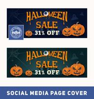 Halloween sale promotion banner for social media page cover and web banner