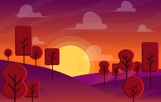 Vector Beautiful Fantasy Landscape Illustration