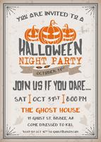 Halloween night party invitation with scary pumpkins design vector