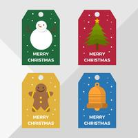 Flat Christmas Holiday Gift Tags Vector Template