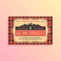 Landscape Buffalo Plaid Wedding Invitation Template Vector