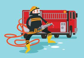 Firefighter in Action Holding the Hose vector