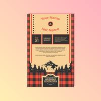 Buffalo Plaid Wedding Invitation Template Vector