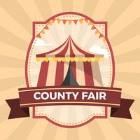 Flat County Fair Badge Poster Illustration Template vector