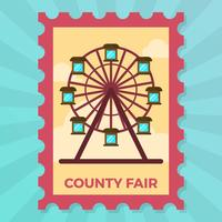 Flat County Fair Ferris Wheel Stamp Vector Illustration