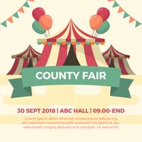 Flat County Fair Tent Festival Vector Illustration