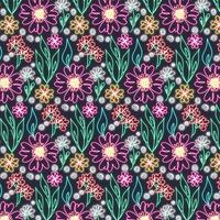 Vector Neon Floral Seamless Pattern