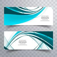 Banners ondulados modernos set vector