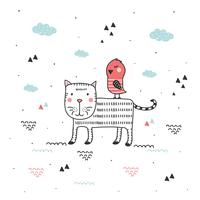 Vetor de gato e pássaro