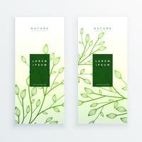 bannières vertes élégantes feuilles verticales