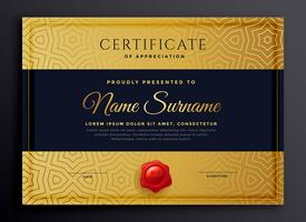 premium golden certificate template design