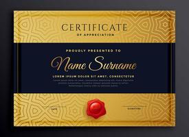 conception de modèle de certificat d'or premium