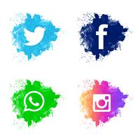 Vacker social media icon set design vektor