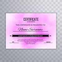 Rosa Entwurfsschablone des modernen Zertifikats