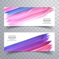 Modern colorful stroke watercolor banners set vector