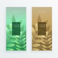 vertical leaves banner design set