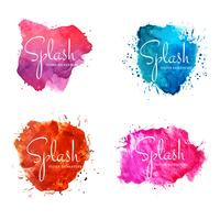 Abstract colorful watercolor splash design set