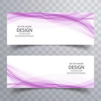Beautiful business wave banners set vector