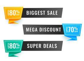 tre försäljnings banner med erbjudanden detaljer