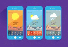 Weather App Screen Vector