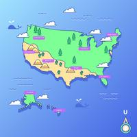 Vecteur de carte de point de repère des États-Unis