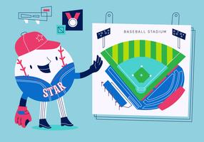 Baseball Mascot Character Förklara Playing Strategy Vector Illustration
