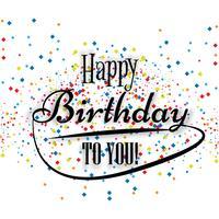Carte postale d'anniversaire. Joyeux anniversaire à vous confettis colorés backg