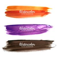Abstract colorful watercolor stroke design set