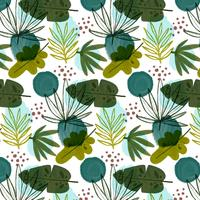 Botanical Pattern With Different Leaves vector
