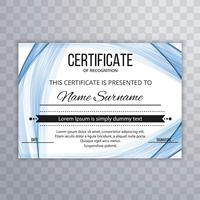 Abstract certificate template stylish wave background