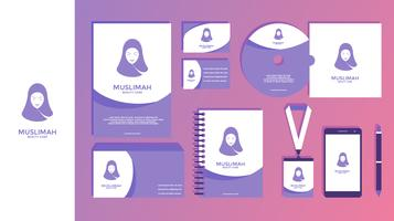 Muslimah Beauty Care Feminin Corporate Identity Vector