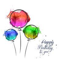 Cartão de feliz aniversário com design de balões aquarela mão desenhada