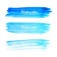 Abstract blue watercolor stroke set design