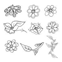 Beautiful doodle set floral background