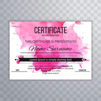 Abstract watercolor colorful certificate template design