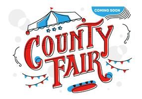 County Fair Lettering Typography Background Vector Illustration