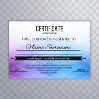 Abstract colorful certifiate template design vector