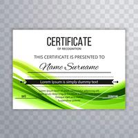 Abstract certificate template green wave background