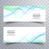 Abstract business wavy banners set design